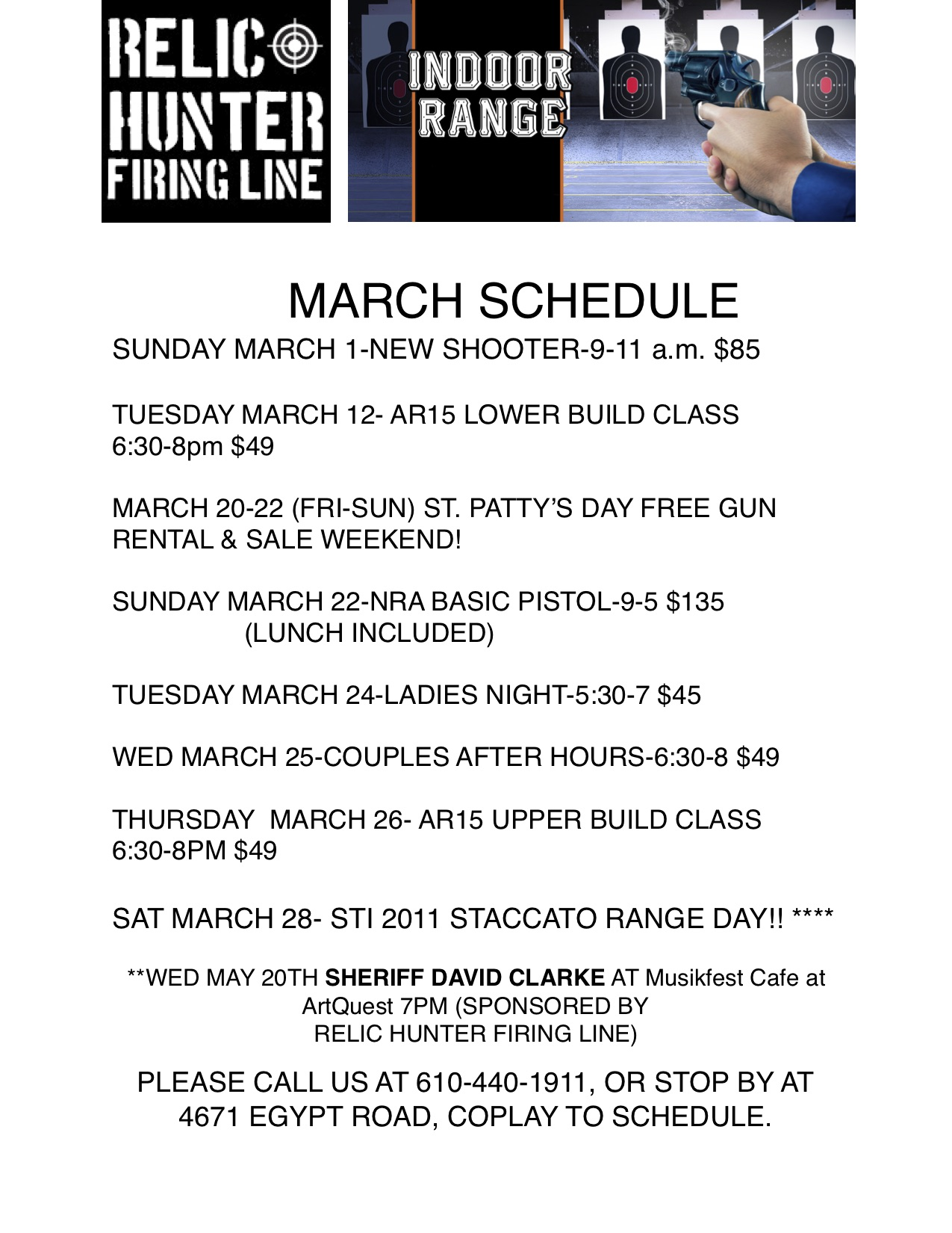 MARCH 2020 schedule