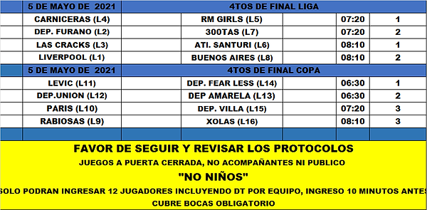 Rol LF Miercoles J4tos de final liga y c