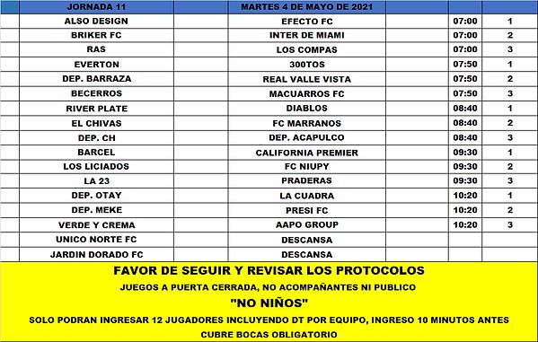 Rol Martes J11 Torneo 2021 (4-5-2021).pn