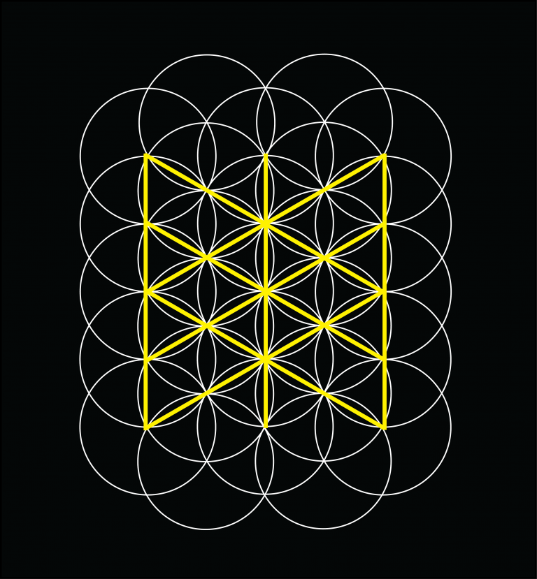 Yellow Web of Wyrd in middle of Flower of Life geometry. This illustrates the similarity in the sacred geometry.