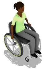 Person in green shirt in wheel chair