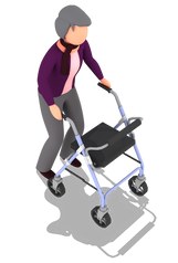Person in purple top using walking frame
