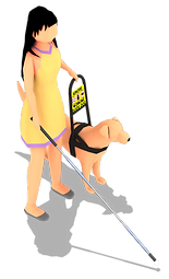 Person In yellow dress with guide dog and cane