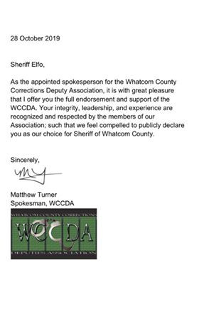 Endorsement Letter from Whatcom County Corrections Deputy Association