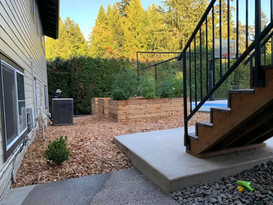planters and cedar chips