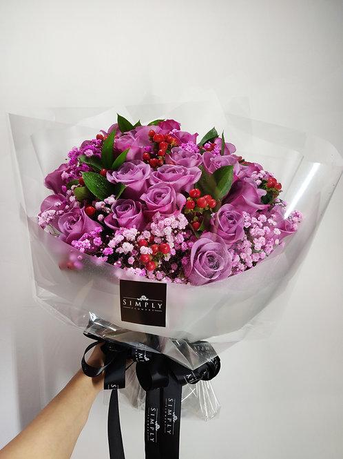 紫玫瑰 + 紅豆 + 星花
