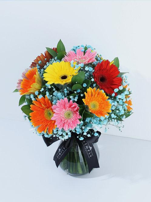 混色太陽花 + 襯花 連花瓶