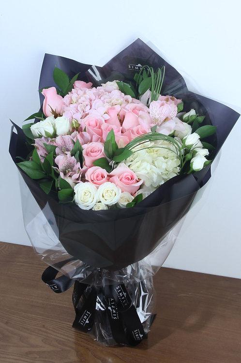 母親節 繍球 + 粉紅玫瑰 + 白玫瑰 + 小百合