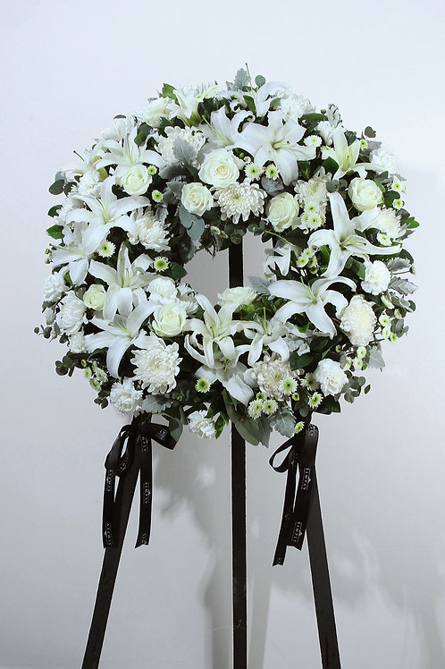 白百合+白玫+白菊花 花圈