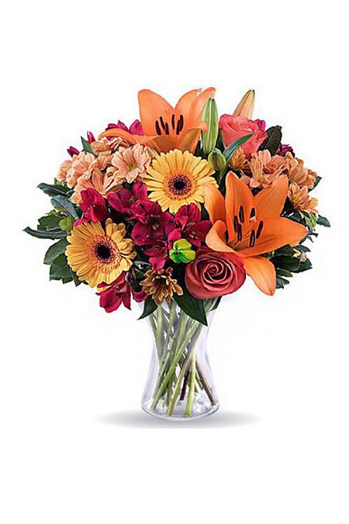 橙百合 + 紅小百合 + 太陽花 + 襯花 連花瓶