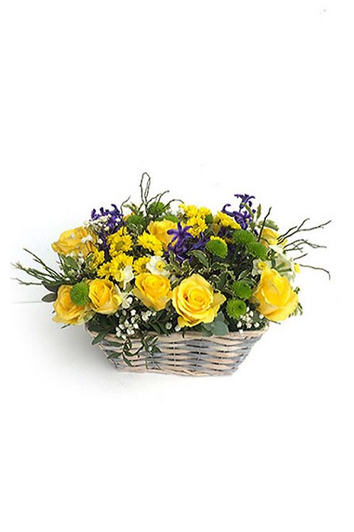 黃玫瑰 + 黃菊仔 + 魚蛋 花藍