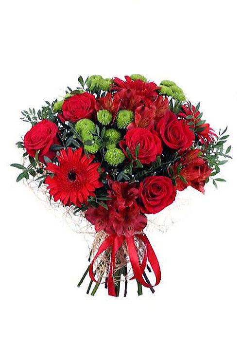 玫瑰+太陽花配時令配花 連花瓶