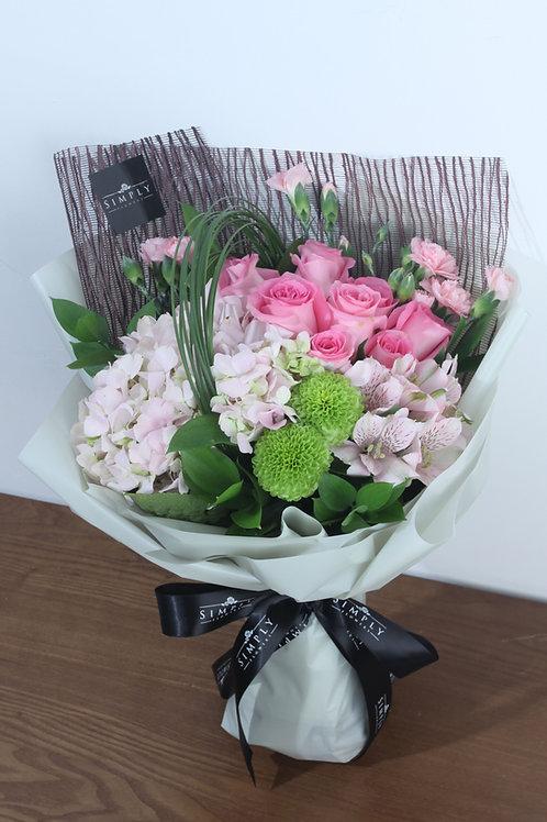母親節 繍球+ 粉紅玫瑰 + 小百合+ 乒乓菊