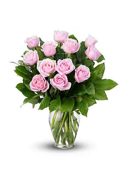 粉紅玫瑰 + 襯葉 連花瓶