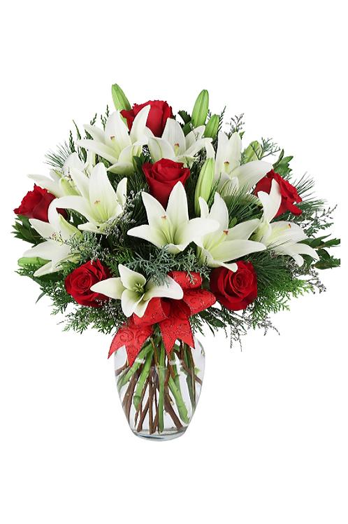 紅玫瑰 + 白百合 + 襯葉 連花瓶