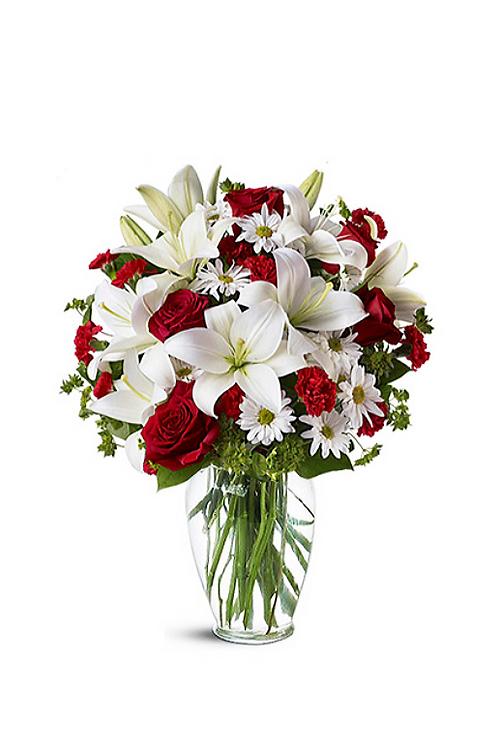 玫瑰 + 百合 + 襯花 連花瓶