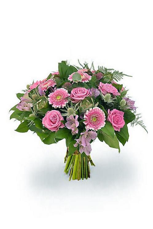 粉紅玫瑰 +太陽花配時令配花 連花瓶