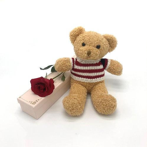 玫瑰配小熊公仔套裝