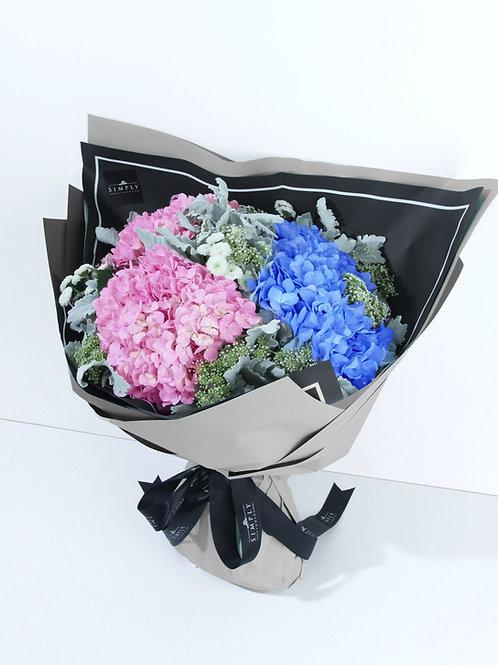 母親節 粉紅繍球 + 粉藍繍球 + 銀菊葉 + 襯花