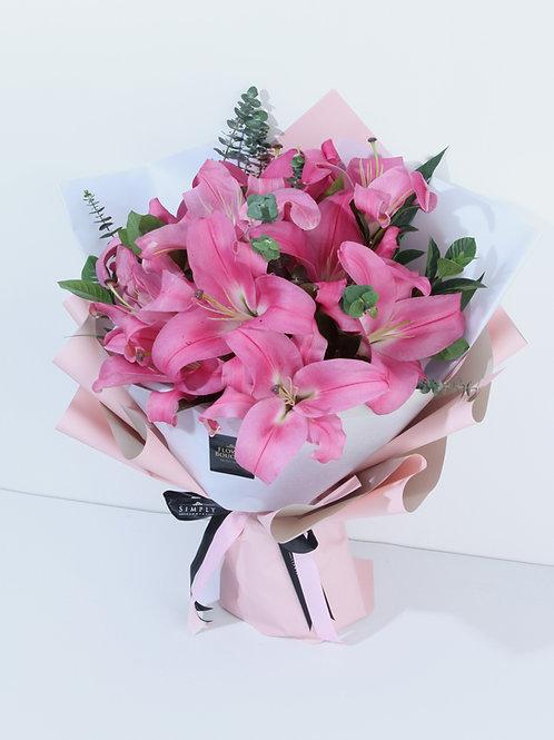 母親節 10支 粉紅百合 花束