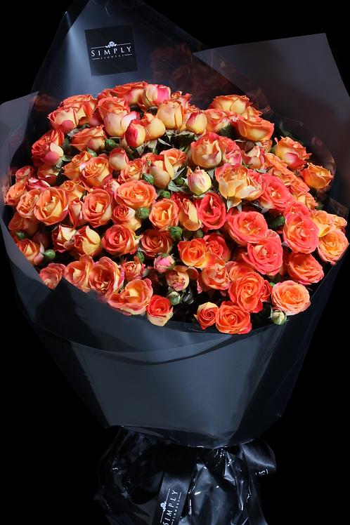 情人節 橙小玫瑰花束