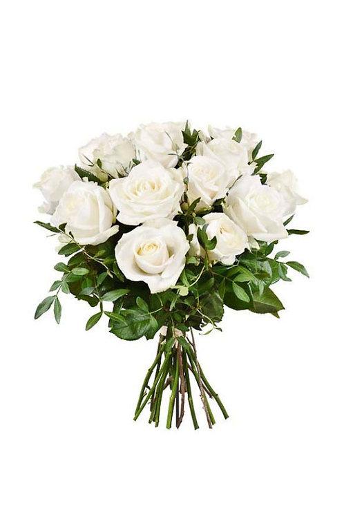 白玫玫瑰+襯葉 連花瓶