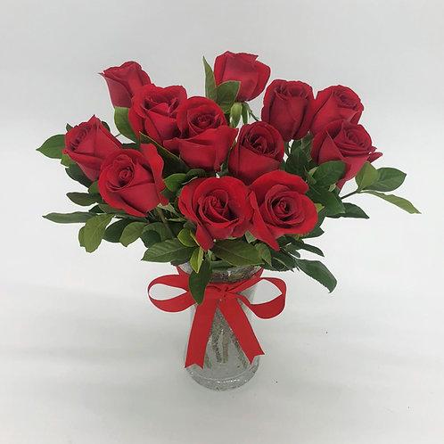 紅玫瑰加襯葉 連花瓶