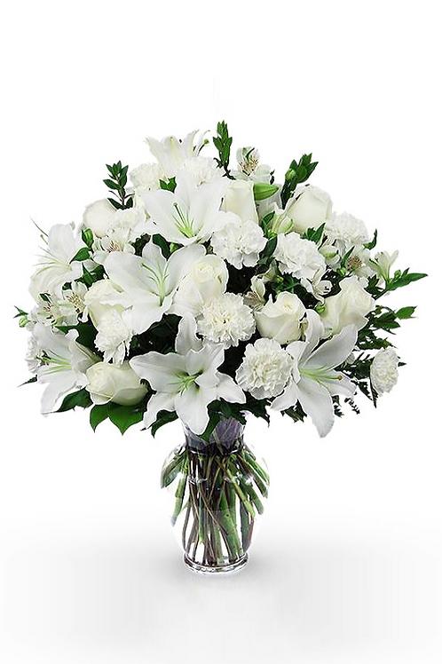 白百合+白玫+康乃韾+襯花 連花瓶