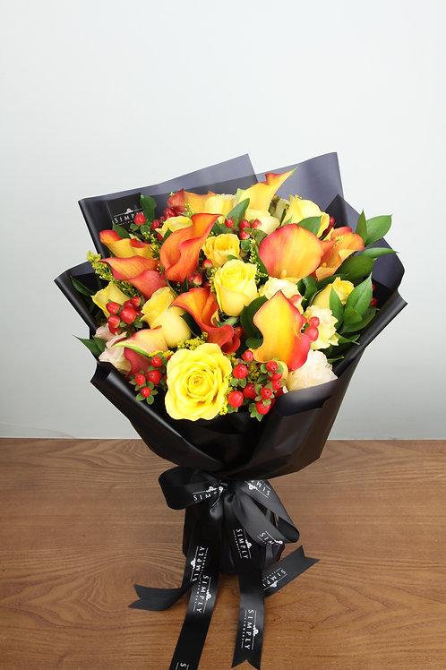 橙色馬蹄蘭 + 黃玫瑰 + 襯花