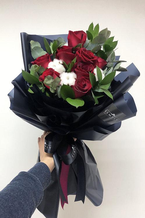韓式 紅玫瑰棉花 花束