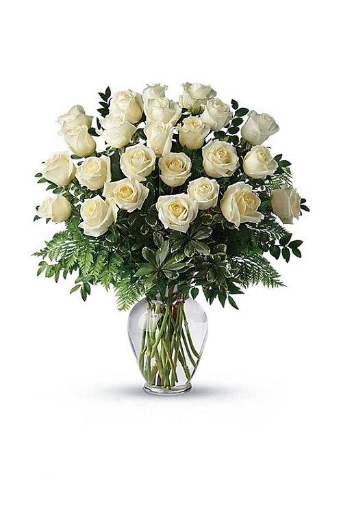 白玫瑰 + 配花 連花瓶
