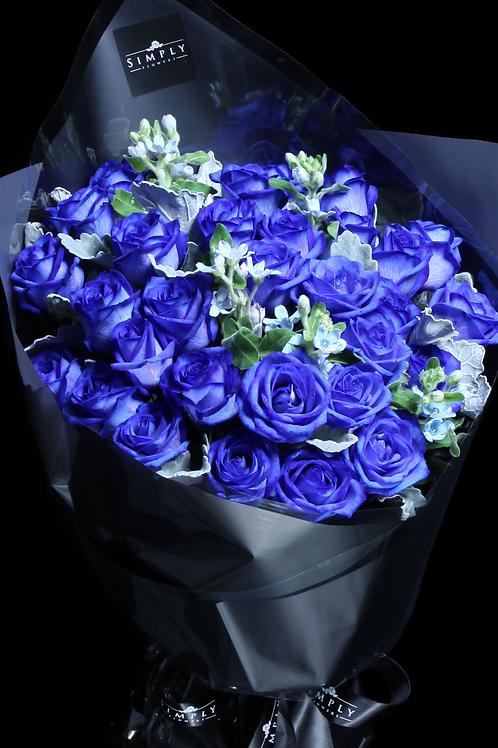 情人節 藍玫瑰20支 配襯花