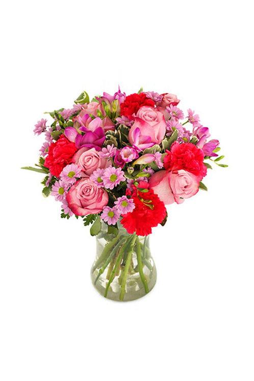 紫玫瑰 + 紅色康乃馨+ 襯花 連花瓶
