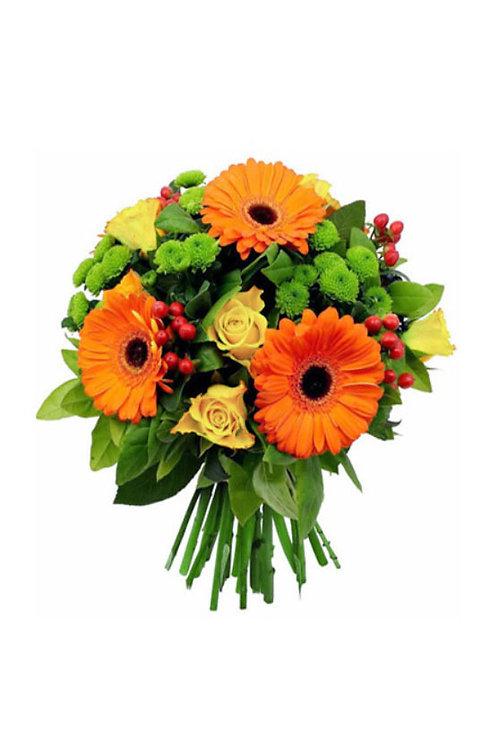 橙色太陽花+ 黃玫瑰 + 襯花 連花瓶