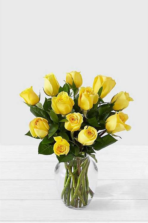 黃玫瑰 連花瓶