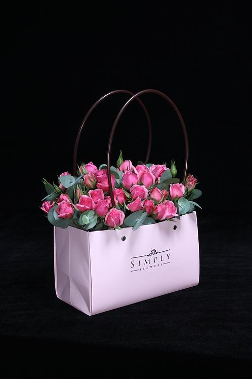 情人節 粉紅小玫瑰 手提包