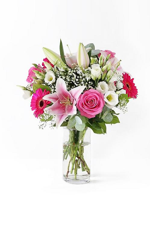 白合+桃紅玫+太陽+襯花 連花瓶
