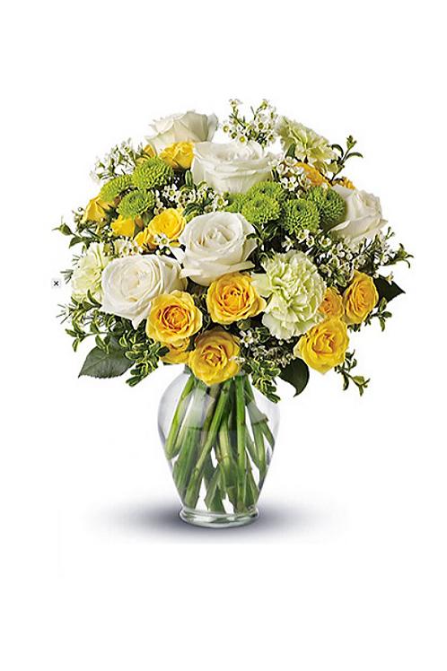 黃色玫瑰+白玫瑰+時令配花