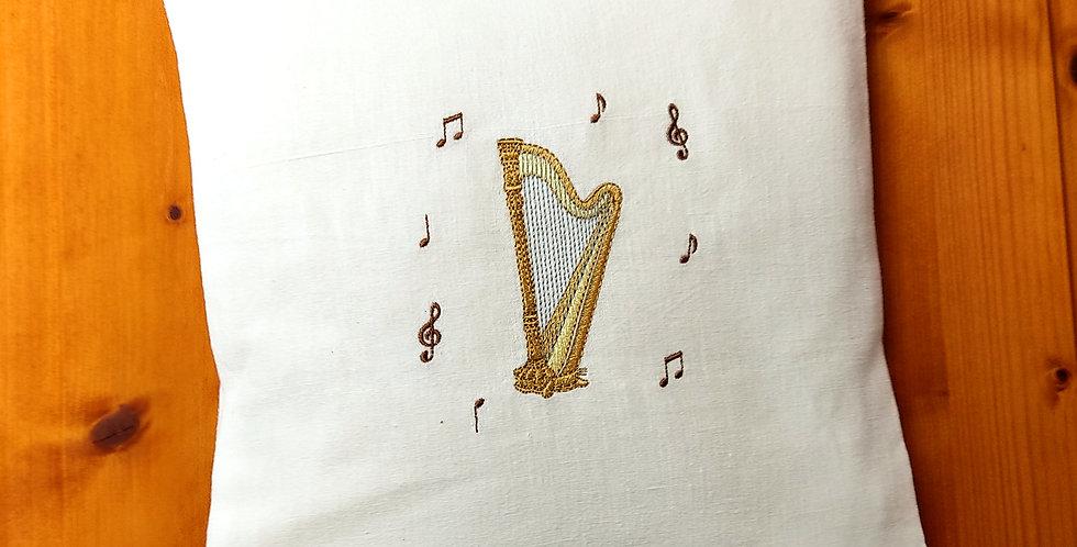 Zirbenkissen bestickt - Harfe -