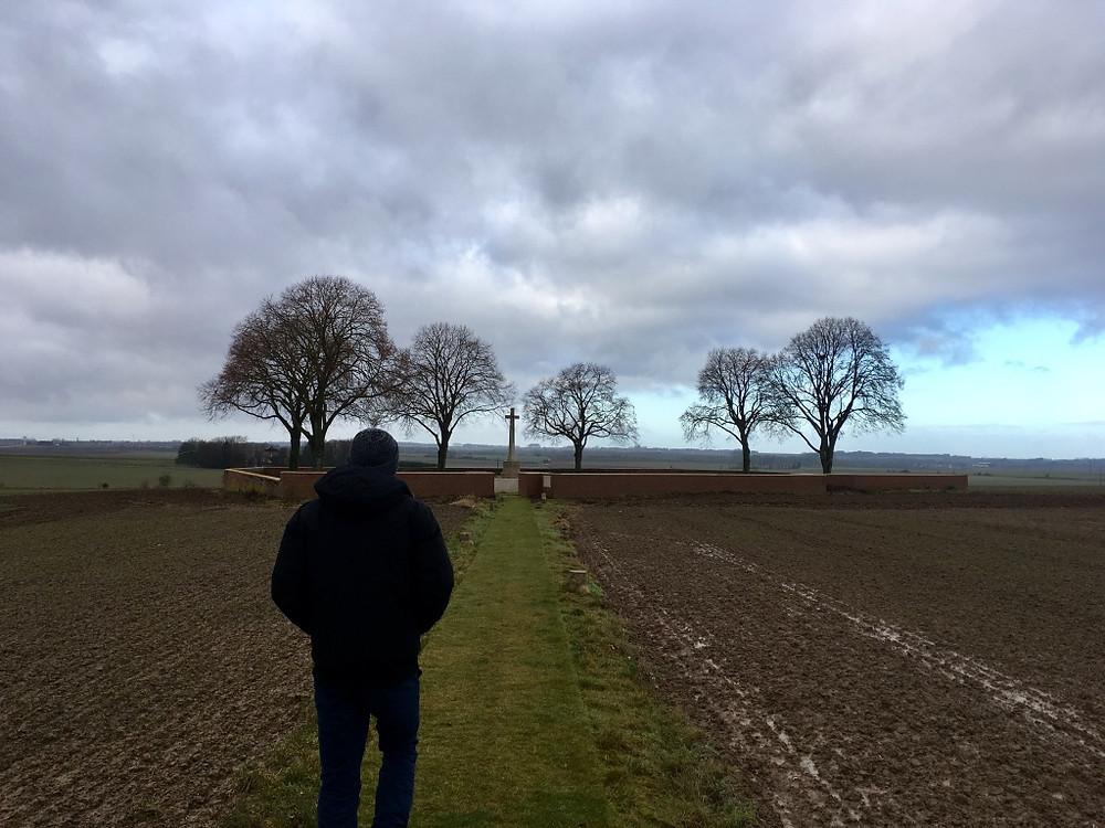 Cemetery in a farmer's field in Drury, France