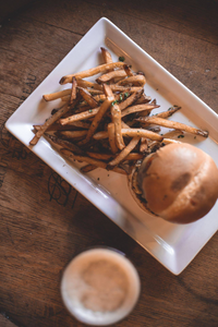 Duck fat fries and a burger at the String Bean