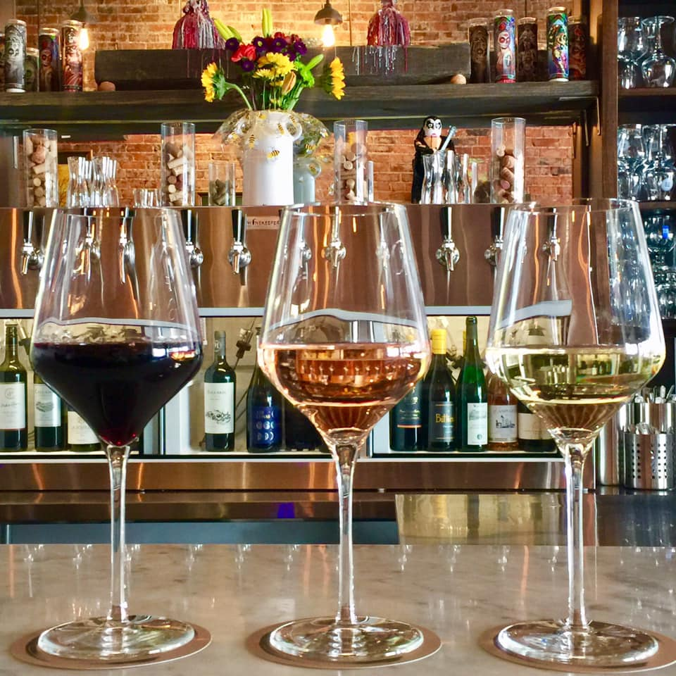 A red, a rose, and a white: three glasses of wine at Luna Hombre