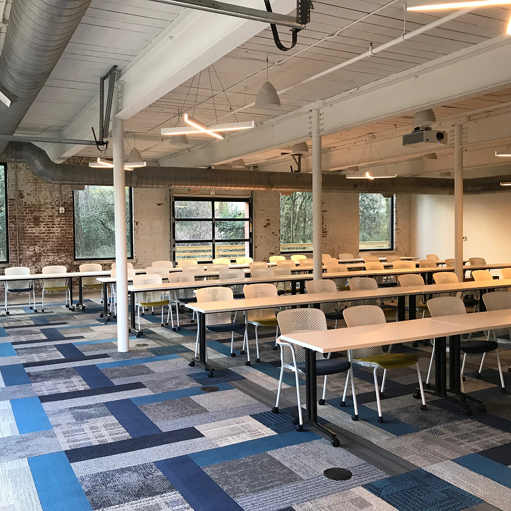 The classroom at Techworks Gaston blends modern design into it's historic brick building.