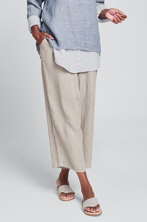 FLAX Floods - Linen Pants with Elastic Waste - Natural