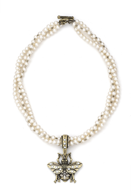 FRENCH KANDE TRIPLE STRAND PEARL AND SILVER HEISHI WITH FK BEE PENDANT