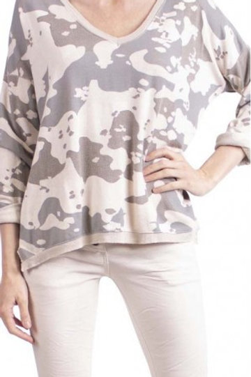 GIGI MODA Camo Metallic V-Neck Blouse