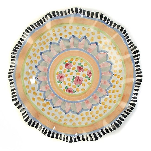 MacKenzie-Childs Taylor Fluted Dinner Plate – Cabbage Rose
