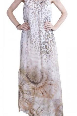 GIGI MODA Tye Dye & Leopard Print Spaghetti Strap Side Slit Maxi Silk Dress