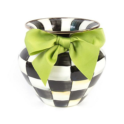 Courtly Check Enamel Large Vase - Green Bow