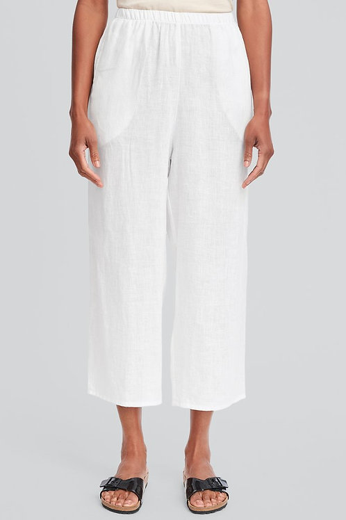 FLAX Floods - Linen Pants with Elastic Waste - White